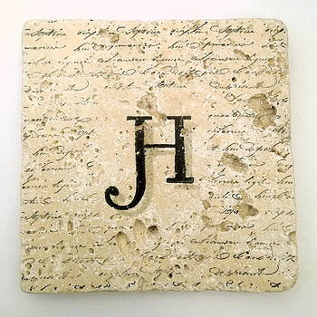 Single H Monogram Tile Coaster with Script by Angela Rath