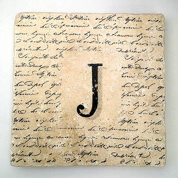 Single J Monogram Tile Coaster with Script by Angela Rath