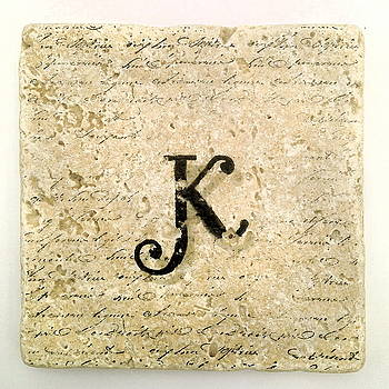 Single K Monogram Tile Coaster with Script by Angela Rath