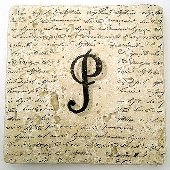 Single P Monogram Tile Coaster with Script by Angela Rath