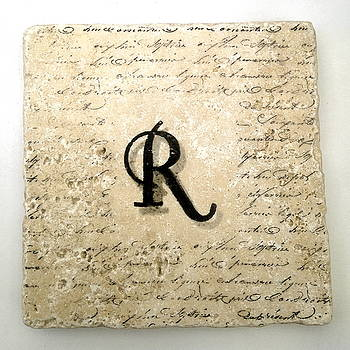 Single R Monogram Tile Coaster with Script by Angela Rath