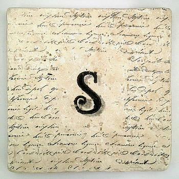 Single S Monogram Tile Coaster with Script by Angela Rath