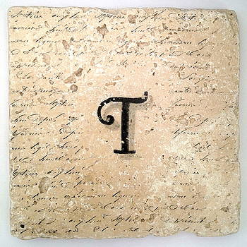 Single T Monogram Tile Coaster with Script by Angela Rath