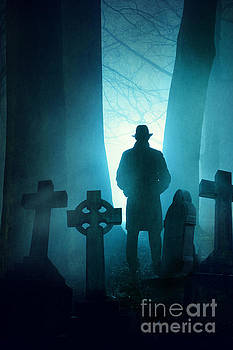 Sinister Man In Silhouette In A Foggy Graveyard At Night by Lee Avison
