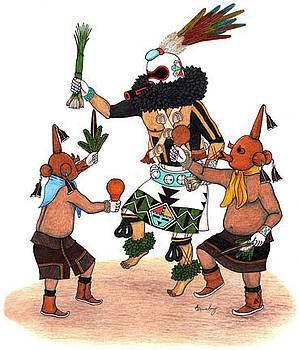 Sipikne and Mudhead Kachinas by Alfred Dawahoya