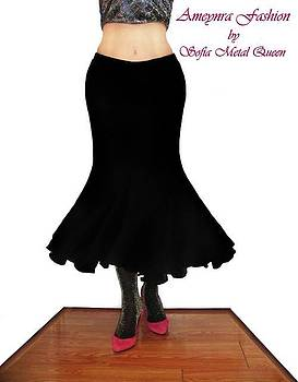Sofia Metal Queen - Siren fishtail skirt, black. Ameynra retro line 03