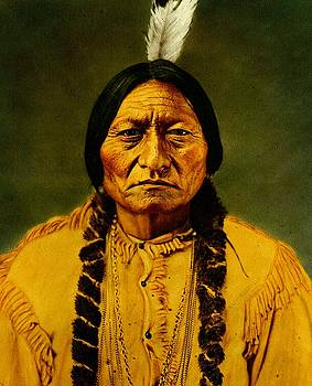 Sitting Bull Late 19th Century Hand Colored Photograph by Peter Gumaer Ogden