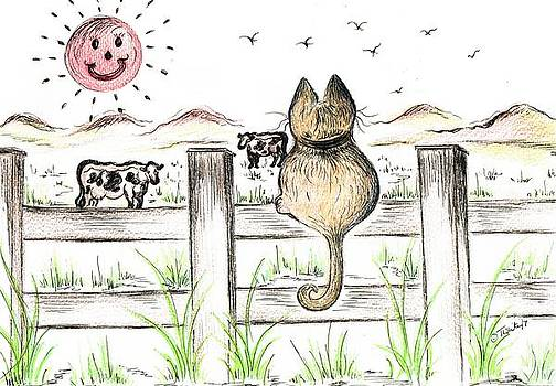Sitting watching cows in the Meadow by Teresa White