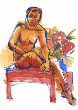 Judith Kunzle - Sitting Woman and Flowers
