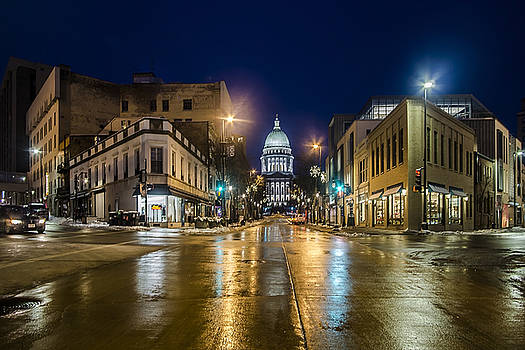 Six Corners intersection at night  by Sven Brogren