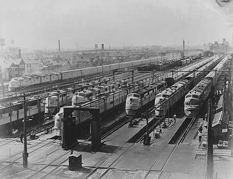 Chicago and North Western Historical Society - Six Diesel Locomotives at Station