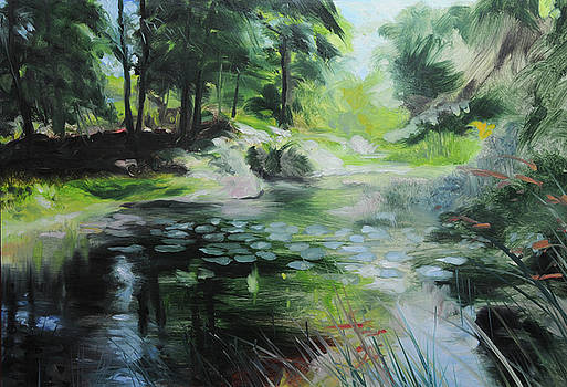 Sketch of a pond at Port Meirion by Harry Robertson