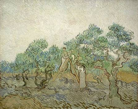 Sketch of Orchard in Blossom with Two Figures Spring, enclosed in a letter from Vincent van Gogh to  by Artistic Panda