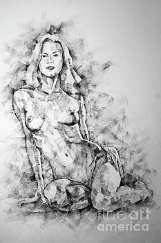 Dimitar Hristov - SketchBook Page 36 Female Sitting Pose Drawing