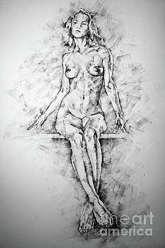 Dimitar Hristov - SketchBook Page 39 Drawing Female Full Body Sitting Front Pose