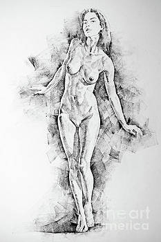 Dimitar Hristov - SketchBook Page 41 I Live Figure Drawing Model Standing Pose