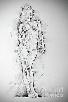 Dimitar Hristov - SketchBook Page 43 Drawing of Standing Figure of a Woman