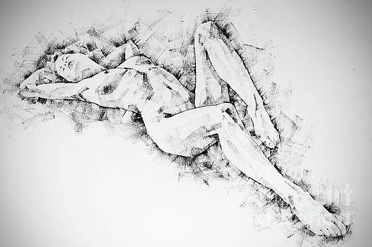 Dimitar Hristov - SketchBook Page 48 Pose drawing lying female figure with hands raised