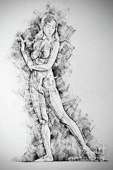 Dimitar Hristov - SketchBook Page 50 Drawings of girl classic straight pose