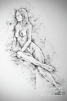 Dimitar Hristov - SketchBook Page 57 Woman one side sitting pose drawing