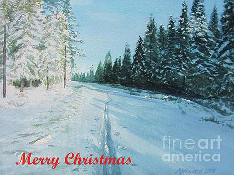 Martin Howard - Ski Tracks Merry Christmas red text