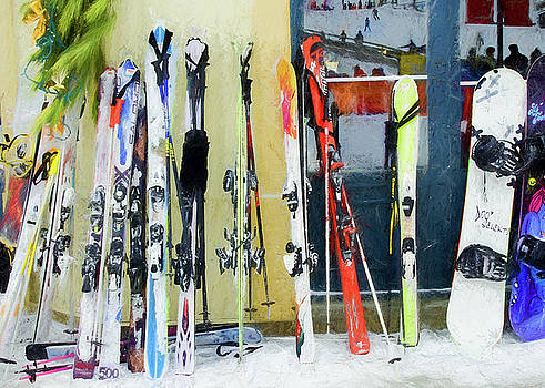 Skis by the window. by Rob Huntley