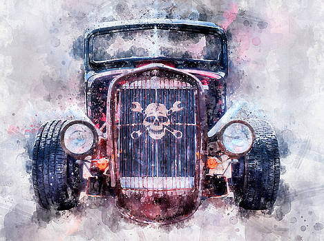 Skull and Cross Wrench Watercolor by Michael Colgate