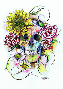 Skull and flowers by Isabel Salvador