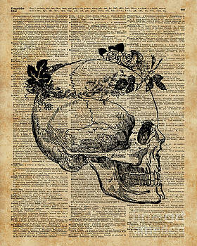 Skull in Floral Wreath Ink Drawing Dictionary Art by Anna W