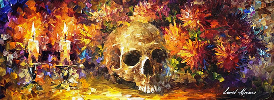 Skull Of Memories - PALETTE KNIFE Oil Painting On Canvas By Leonid Afremov by Leonid Afremov