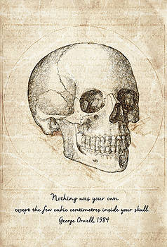 Skull Quote by George Orwell by Taylan Apukovska
