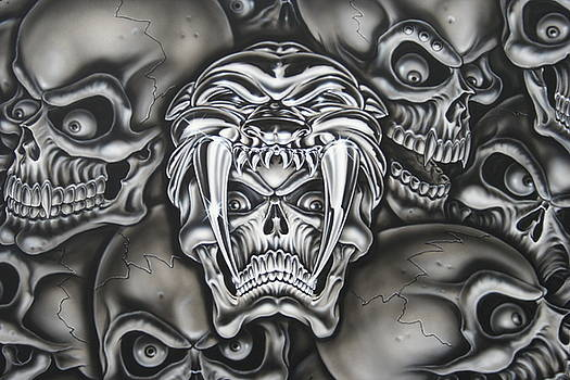 Skull with Saber tooth helmet  by Terry Stephens