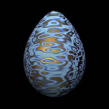 Hakon Soreide - Sky Blue Egg With Swirls of Gold