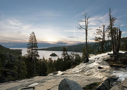 Sky cross over Emerald Bay on Lake Tahoe with Lower Eagle Falls by Steven Heap