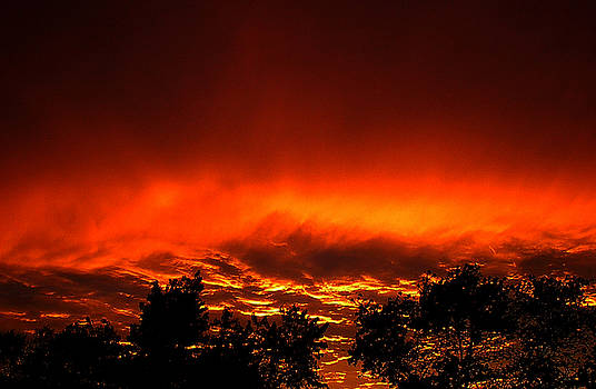 Sky on fire orange glow sunset over Virginia by Alexandra Cook