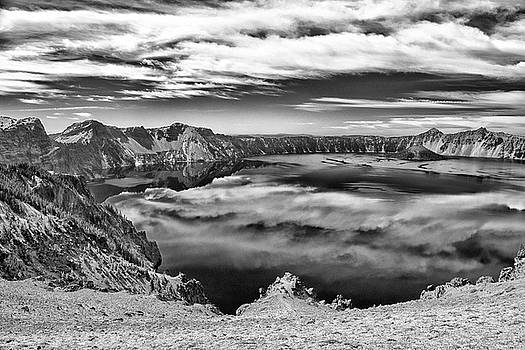 Sky Reflections In Crater Lake B W by Frank Wilson