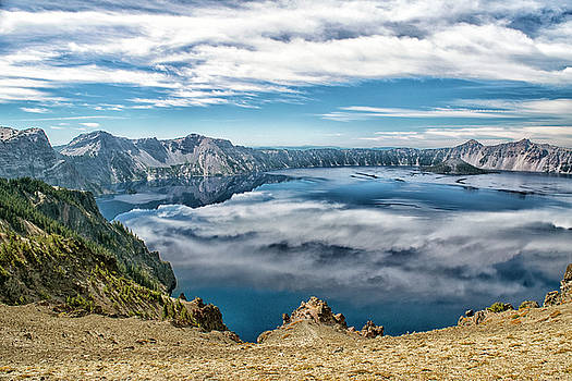 Sky Reflections In Crater Lake  by Frank Wilson