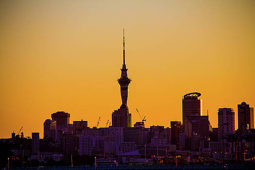 Sky Tower, Sunset, Auckland City Skyline by Jassodra Kuizon