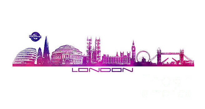 Justyna Jaszke JBJart - skyline city London purple