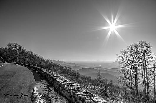 Skyline Drive VA at Dusk in Winter - BW 1 by Manny Jose