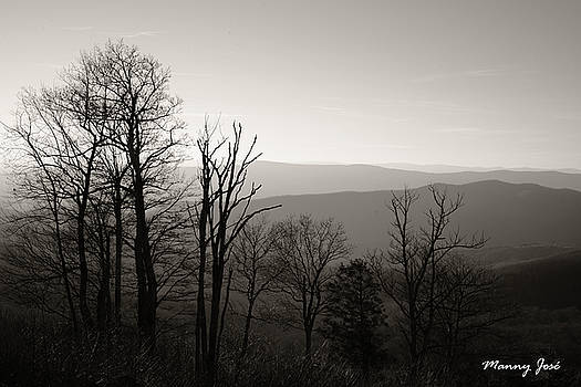 Skyline Drive VA at Dusk in Winter - BW 2 by Manny Jose