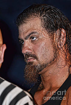 The Pre-Fight Staredown by Pro Wrestler Sledge by Jim Fitzpatrick