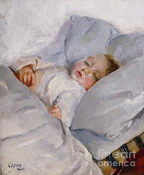 Sleeping child Sophus Gaihede by Christian Krohg