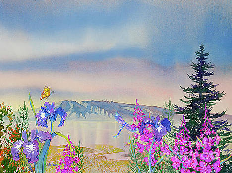 Sleeping Lady with Iris and Fireweed by Teresa Ascone
