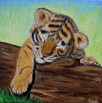 Sleepy Tiger Cub by Kirsten Sneath