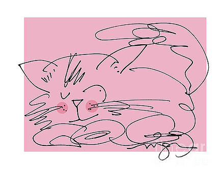 Sleepy Pink Cat by Marilyn MacGregor