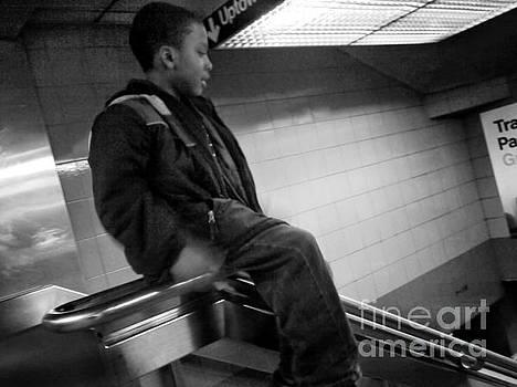 Sliding on the Rail - Subways of New York by Miriam Danar
