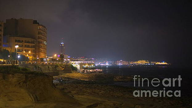 Sliema bay at Night by John Chatterley