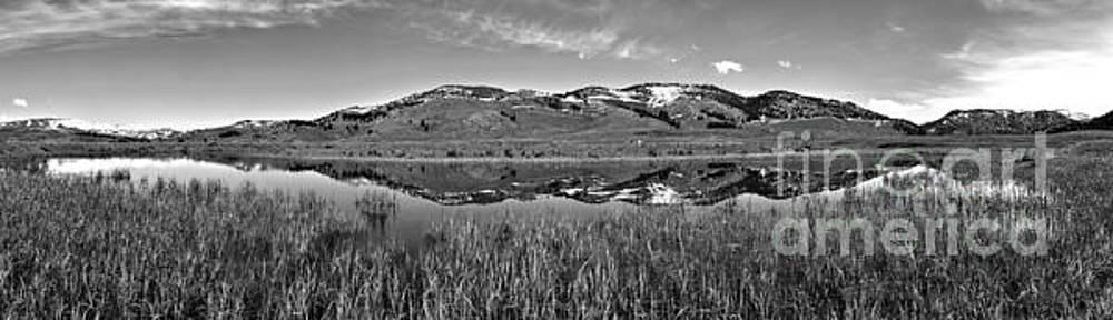 Adam Jewell - Slough Creek Reflection Panorama Black And White