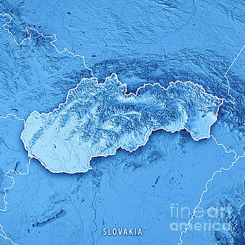 Slovakia Country 3D Render Topographic Map Blue Border by Frank Ramspott
